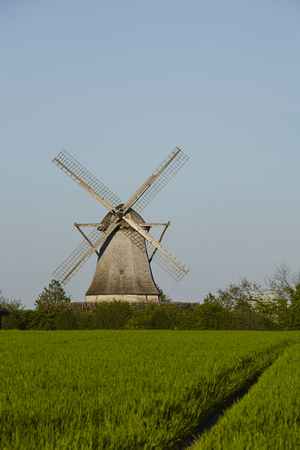 The windmill Destel (Stemwede, Germany) is a dutch type of windmill and is part of the Westphalia Mill Street (Westfaelische Muehlenstrasse). Stock Photo