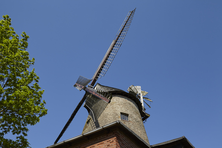 The windmill Ovenstaedt (Petershagen, Germany) is a dutch type of windmill and is part of the Westphalia Mill Street (Westfaelische Muehlenstrasse).
