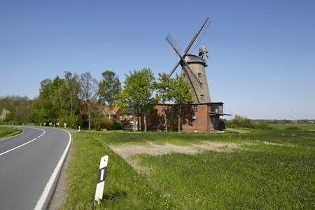 historically: The windmill Ovenstaedt (Petershagen, Germany) is a dutch type of windmill and is part of the Westphalia Mill Street (Westfaelische Muehlenstrasse).
