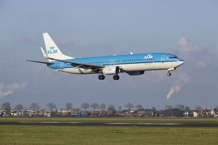 The KLM Boeing 737-9K2 with identification PH-BXS lands at Amsterdam Airport Schiphol (The Netherlands, AMS), Polderbaan on April 8, 2016.