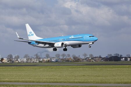 The KLM Boeing 737-8K2 with identification PH-BXD lands at Amsterdam Airport Schiphol (The Netherlands, AMS), Polderbaan on April 8, 2016.