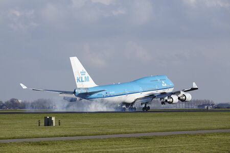 The KLM Boeing 747-406(M) with identification PH-BFW lands at Amsterdam Airport Schiphol (The Netherlands, AMS), Polderbaan on April 8, 2016.