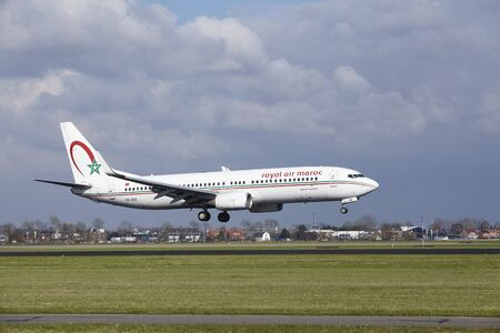 polderbaan: The Royal Air Maroc Boeing 737-8B6 with identification CN-ROZ lands at Amsterdam Airport Schiphol (The Netherlands, AMS), Polderbaan on April 8, 2016. Editorial