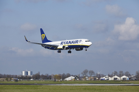 The Ryanair Boeing 737-8AS with identification EI-FRC lands at Amsterdam Airport Schiphol (The Netherlands, AMS), Polderbaan on April 8, 2016.
