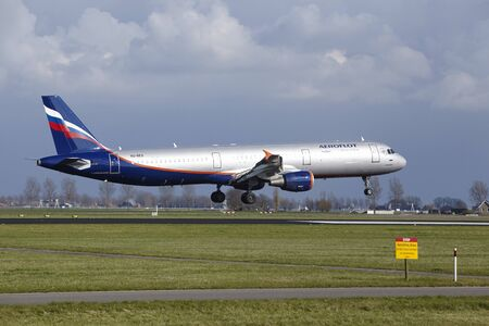 The Aeroflot Airbus A321-211 with identification VQ-BEA lands at Amsterdam Airport Schiphol (The Netherlands, AMS), Polderbaan on April 8, 2016.