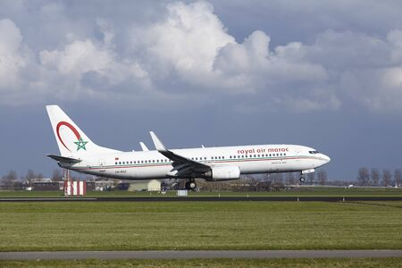 The Royal Air Maroc Boeing 737-8B6 with identification CN-ROZ lands at Amsterdam Airport Schiphol (The Netherlands, AMS), Polderbaan on April 8, 2016. Editorial