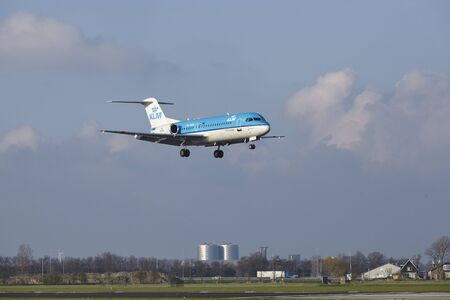alight: The KLM Boeing 737-8K2 with identification PH-BXL lands at Amsterdam Airport Schiphol (The Netherlands, AMS), Polderbaan on April 8, 2016.