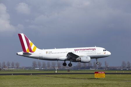 The Germanwings Airbus A319-112 with identification D-AKNN lands at Amsterdam Airport Schiphol (The Netherlands, AMS), Polderbaan on April 8, 2016.