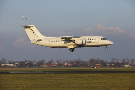 The CityJet Avro RJ85 with identification EI-WXA lands at Amsterdam Airport Schiphol (The Netherlands, AMS), Polderbaan on April 8, 2016. Editorial