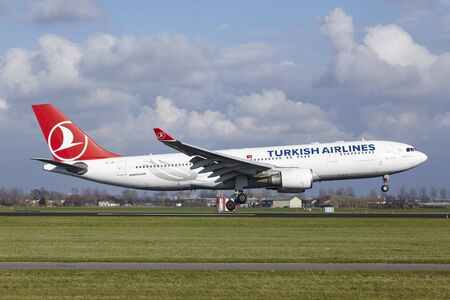 The Turkish Airlines Airbus A330-203 with identification TC-JIL lands at Amsterdam Airport Schiphol (The Netherlands, AMS), Polderbaan on April 8, 2016.