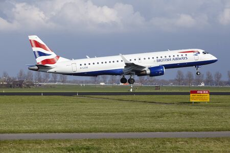 The British Airways (BA CityFlyer) Embraer ERJ-190SR with identification G-LCYO lands at Amsterdam Airport Schiphol (The Netherlands, AMS), Polderbaan on April 8, 2016.