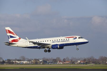 The British Airways (BA CityFlyer) Embraer ERJ-170STD with identification G-LCYD lands at Amsterdam Airport Schiphol (The Netherlands, AMS), Polderbaan on April 8, 2016. Editorial