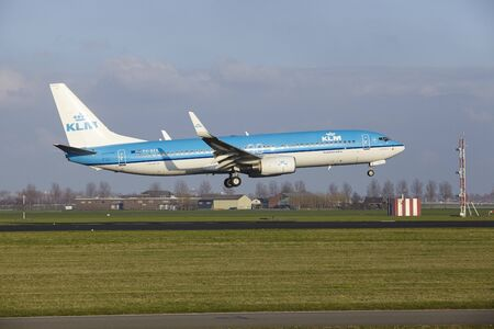 The KLM Boeing 737-8K2 with identification PH-BXK lands at Amsterdam Airport Schiphol (The Netherlands, AMS), Polderbaan on April 8, 2016.