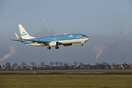 The KLM Boeing 737-8K2 with identification PH-BCD lands at Amsterdam Airport Schiphol (The Netherlands, AMS), Polderbaan on April 8, 2016.