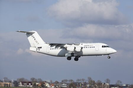 The CityJet Avro RJ85 with identification EI-RJR lands at Amsterdam Airport Schiphol (The Netherlands, AMS), Polderbaan on April 8, 2016.