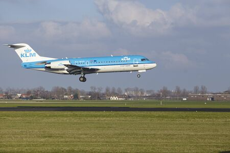 polderbaan: The KLM Boeing 737-8K2 with identification PH-BXL lands at Amsterdam Airport Schiphol (The Netherlands, AMS), Polderbaan on April 8, 2016.
