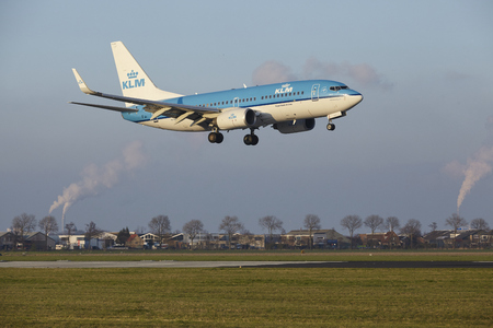 The KLM Boeing 737-7K2 with identification PH-BGN lands at Amsterdam Airport Schiphol (The Netherlands, AMS), Polderbaan on April 8, 2016.