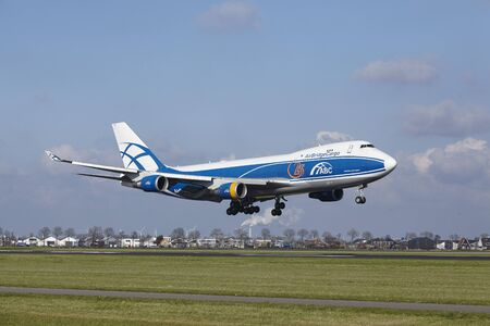 The AirBridge Cargo Boeing 747-4KZF(SCD) with identification VQ-BHE lands at Amsterdam Airport Schiphol (The Netherlands, AMS), Polderbaan on April 8, 2016.