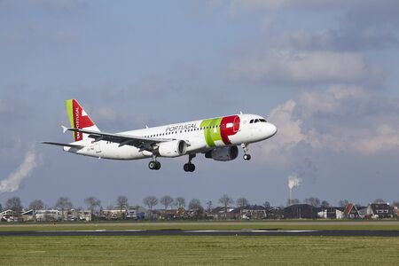 The TAP Portugal Airbus A320-214 with identification CS-TNJ lands at Amsterdam Airport Schiphol (The Netherlands, AMS), Polderbaan on April 8, 2016.