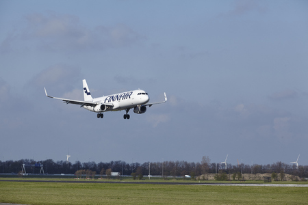 The Finnair Airbus A321-231 with identification OH-LZH lands at Amsterdam Airport Schiphol (The Netherlands, AMS), Polderbaan on April 8, 2016. Editorial