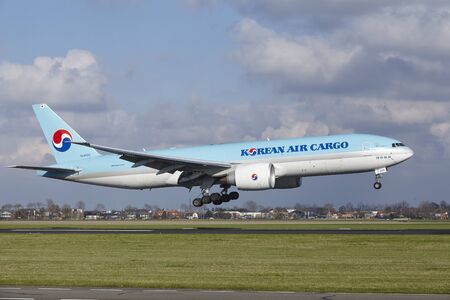 The Korean Air Cargo Boeing 777-FB5 with identification HL8005 lands at Amsterdam Airport Schiphol (The Netherlands, AMS), Polderbaan on April 8, 2016.