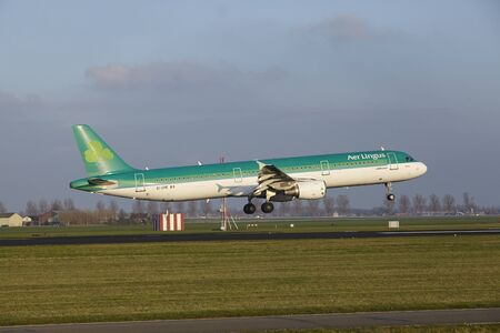 The Air Lingus Airbus A321-211 with identification EI-CPE lands at Amsterdam Airport Schiphol (The Netherlands, AMS), Polderbaan on April 8, 2016.
