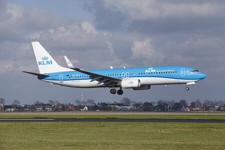 The KLM Boeing 737-8K2 with identification PH-BXZ lands at Amsterdam Airport Schiphol (The Netherlands, AMS), Polderbaan on April 8, 2016.