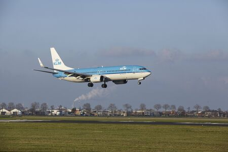 The KLM Boeing 737-8K2 with identification PH-BCA lands at Amsterdam Airport Schiphol (The Netherlands, AMS), Polderbaan on April 8, 2016.