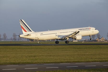 The Air France Airbus A321-111 with identification F-GMZD lands at Amsterdam Airport Schiphol (The Netherlands, AMS), Polderbaan on April 8, 2016.