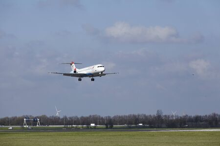 The Austrian Airlines Fokker 100 with identification OE-LVM lands at Amsterdam Airport Schiphol (The Netherlands, AMS), Polderbaan on April 8, 2016. Editorial