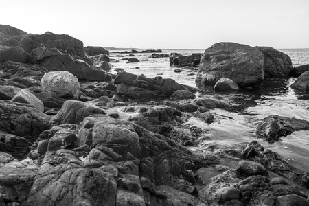 white wallpaper: black and white photography of rocky coast of Black sea, Bulgaria