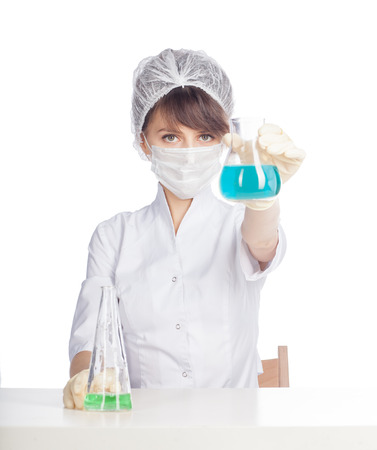 young beautiful caucasian woman chemist isolated on white background Stock Photo