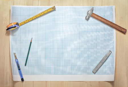 meticulous: instruments and tools on wooden table