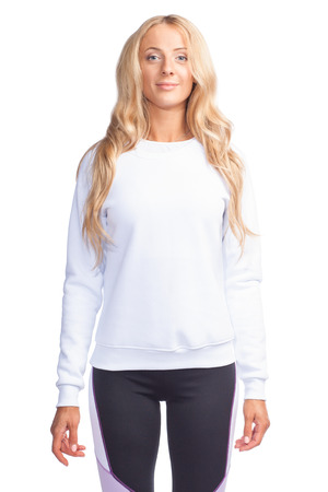 young blonde woman in blank white sweatshirt arms down 版權商用圖片