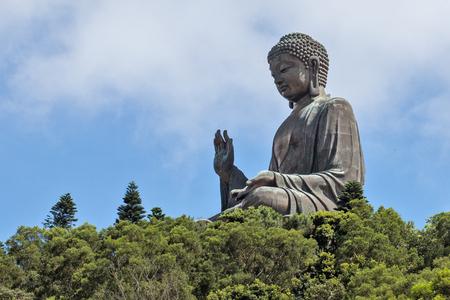 buddha statue: outdoor statue of Big Tian Tan Buddha on Lantau Island, Hong Kong, China