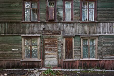 facade of old wooden house, vintage living quarteers