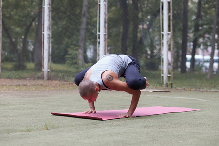 tanned skinhead woman with ethnic tattoos doing yoga exercise - crane, outdoor in green park Imagens