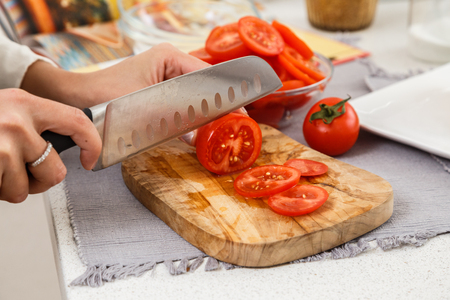 Food, breakfast, background, health, eat, concept, dinner, lunch, meal, fresh, life, natural, organic, cutting the salad, cut the tomatoes Stock Photo