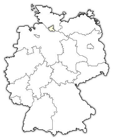 germany map, hamburg highlighted photo