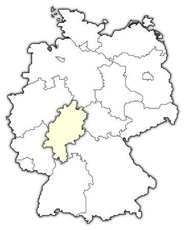 emphasized: map of germany, hesse emphasized
