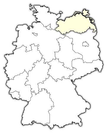 map of germany, mecklenburg-vorpommern highlighted photo