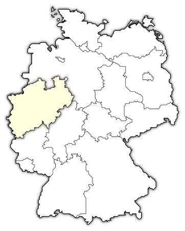 map of germany, north rhine-westphalia highlighted photo