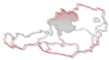 Political map of Austria with the several states where Upper Austria is highlighted. photo