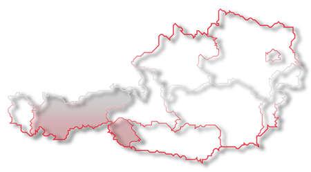 Political map of Austria with the several states where Tyrol is highlighted. Stock Photo - 10790236