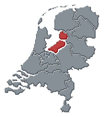 nederland: Political map of Netherlands with the several states where Flevoland is highlighted. Stock Photo