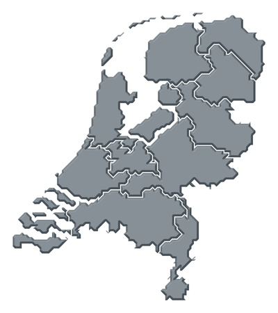 nederland: Political map of Netherlands with the several states.
