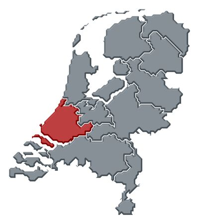 Political map of Netherlands with the several states where South Holland is highlighted. Stock Photo