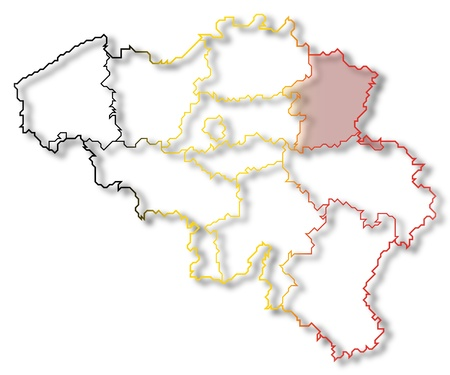 belgie: Political map of Belgium with the several states where Limburg is highlighted.