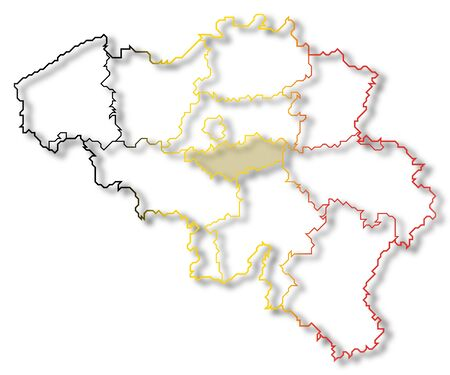 Political map of Belgium with the several states where Flemish Brabant is highlighted.