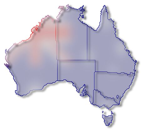 Political map of Australia with the several states. Stock Photo
